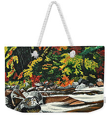 Autumn Frost Weekender Tote Bag by Donna Blossom