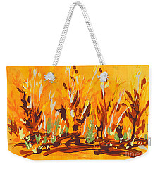 Weekender Tote Bag featuring the painting Autumn Garden by Holly Carmichael