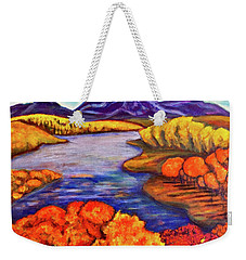 Weekender Tote Bag featuring the painting Autumn Hues by Rae Chichilnitsky