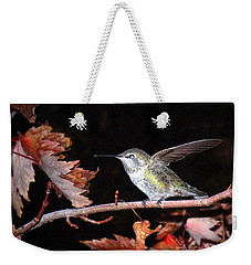 Weekender Tote Bag featuring the photograph Autumn Hummer by Joyce Dickens