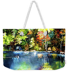 Weekender Tote Bag featuring the painting Autumn In Loon Country by Al Brown