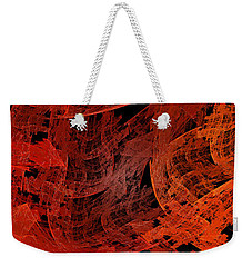Weekender Tote Bag featuring the digital art Autumn In Space Abstract Pano 1 by Andee Design