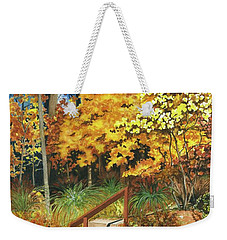 Weekender Tote Bag featuring the painting Autumn Invitation by Barbara Jewell