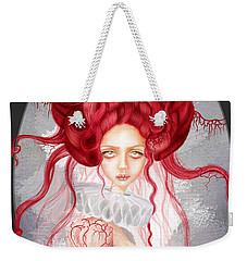 Weekender Tote Bag featuring the drawing Autumn by Julia Art