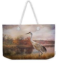 Autumn Lake Crane Weekender Tote Bag