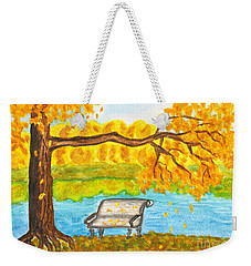Autumn Landscape With Tree And Bench, Painting Weekender Tote Bag