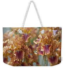 Autumn Leaves Irises In Garden Weekender Tote Bag