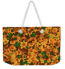Weekender Tote Bag featuring the digital art Autumn Leaves Pattern by Methune Hively