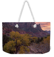 Weekender Tote Bag featuring the photograph Autumn Light Over The Watchman by Patricia Davidson