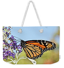 Weekender Tote Bag featuring the photograph Autumn Monarch Butterfly 2016 by Lara Ellis