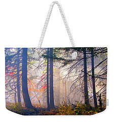 Autumn Morning Fire And Mist Weekender Tote Bag