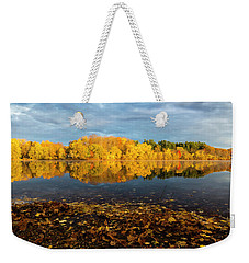 Weekender Tote Bag featuring the photograph Autumn Morning Reflection On Lake Pentucket by Betty Denise