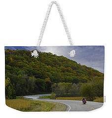 Autumn Motorcycle Rider / Red Weekender Tote Bag