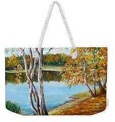 Weekender Tote Bag featuring the painting Autumn by Nina Mitkova