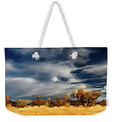 Weekender Tote Bag featuring the painting Autumn On The Edge Of The Great Plains  by David Dehner