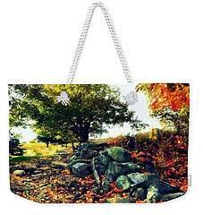 Weekender Tote Bag featuring the painting Autumn Orchard by Janine Riley