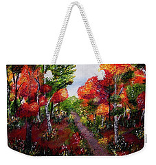 Weekender Tote Bag featuring the painting Autumn Path by Sonya Nancy Capling-Bacle