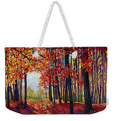 Weekender Tote Bag featuring the painting Autumn Rapture by Hailey E Herrera