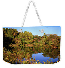 Weekender Tote Bag featuring the photograph Autumn Reflection by Angie Tirado