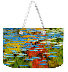 Weekender Tote Bag featuring the photograph Autumn Lily Pads by Diana Angstadt