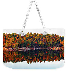 Weekender Tote Bag featuring the photograph   Autumn Reflections by Debbie Oppermann