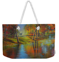 Weekender Tote Bag featuring the painting Autumn Reflections by Jeanette French
