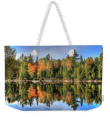 Weekender Tote Bag featuring the photograph Autumn Reflections Of Maine by Shelley Neff