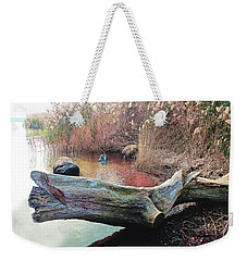 Weekender Tote Bag featuring the photograph Autumn Riverside by Roger Bester