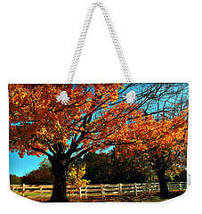 Weekender Tote Bag featuring the photograph Autumn Rows by Joan  Minchak