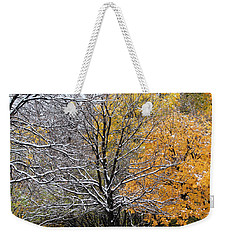 Weekender Tote Bag featuring the photograph Autumn Snow by Doris Potter