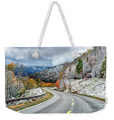 Autumn Snow Highland Scenic Highway Weekender Tote Bag
