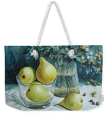 Weekender Tote Bag featuring the painting Autumn Still Life 3 by Elena Oleniuc