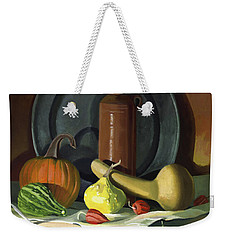 Weekender Tote Bag featuring the painting Autumn Still Life by Nancy Griswold