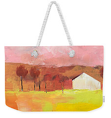 Weekender Tote Bag featuring the painting Autumn Stillness by Michelle Abrams