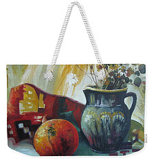 Weekender Tote Bag featuring the painting Autumn Story by Elena Oleniuc