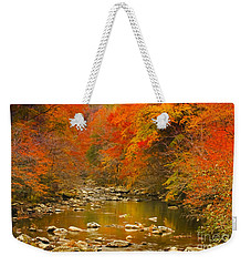 Weekender Tote Bag featuring the photograph Autumn Stream by Geraldine DeBoer
