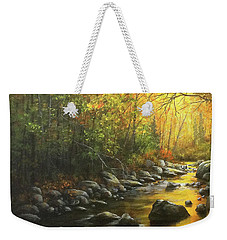 Weekender Tote Bag featuring the painting Autumn Stream by Kim Lockman