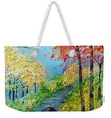 Weekender Tote Bag featuring the painting Autumn Stream by Sonya Nancy Capling-Bacle
