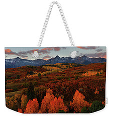 Weekender Tote Bag featuring the photograph Autumn Sunrise At Dallas Divide In Colorado by Jetson Nguyen