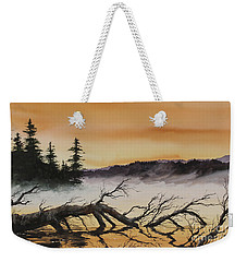 Weekender Tote Bag featuring the painting Autumn Sunset Mist by James Williamson