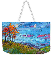 Weekender Tote Bag featuring the painting Autumn Sunset - Modern Impressionist Palette Knife Oil Painting by Patricia Awapara