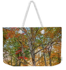 Weekender Tote Bag featuring the photograph Autumn Sunset Through The Trees by Rick Berk