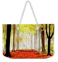 Weekender Tote Bag featuring the painting Autumn Trail by Yoshiko Mishina