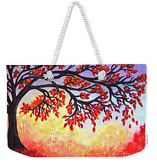 Weekender Tote Bag featuring the painting Autumn Tree by Sonya Nancy Capling-Bacle