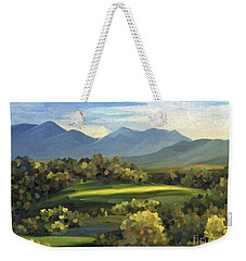 Weekender Tote Bag featuring the painting Autumn Trees by Ivana Westin