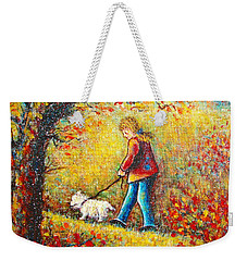 Weekender Tote Bag featuring the painting Autumn Walk  by Natalie Holland