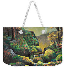 Weekender Tote Bag featuring the painting Autumn Waterfalls by Lou Ann Bagnall
