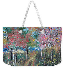 Weekender Tote Bag featuring the painting Autumn Woodland by Judy Via-Wolff