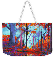 Weekender Tote Bag featuring the painting Autumnal Landscape, Impressionistic Art by Patricia Awapara