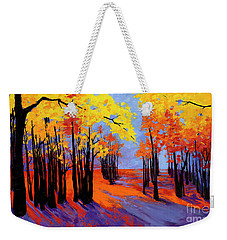 Weekender Tote Bag featuring the painting Autumnal Landscape Painting, Forest Trees At Sunset by Patricia Awapara